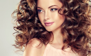 Wallpaper girl, curls, makeup, hair, lipstick, face, smile, eyelashes, look