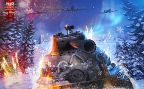 Picture ate, tank, Happy New Year, aircraft, War Thunder