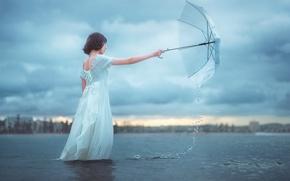 Picture water, girl, umbrella