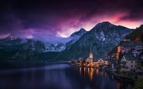 Wallpaper the sky, clouds, mountains, lake, the evening, Austria, Hallstatt, Hallstatt