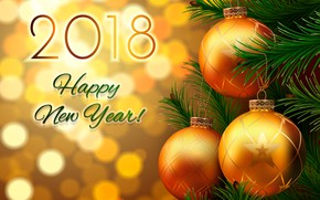 Picture branches, glare, background, holiday, balls, toys, vector, Christmas, New year, tree, bokeh, 2018, Happy new …