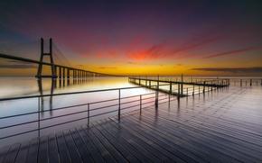 Picture sea, sunset, bridge