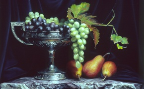 Picture leaves, grapes, pear, Cup