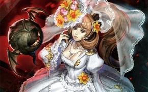 Picture flowers, eyes, being, neckline, the bride, veil, art, wedding dress, midori foo