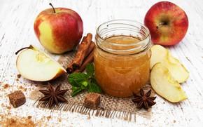 Picture apples, Bank, cinnamon, jam, star anise, star anise
