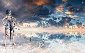 Picture girl, clouds, reflection, music, heaven, anime, art, tool