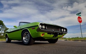 Picture Dodge Challenger, Green, 1970, Muscle car, Road, Convertible