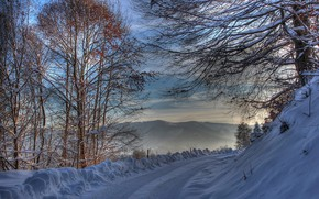 Wallpaper winter, snow, road
