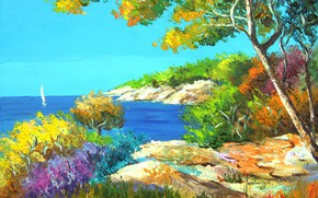 Wallpaper sea, art, artist, shore, impressionist, jean marc janiaczyk, landscape