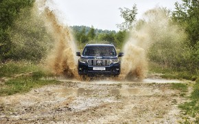 Picture grass, water, squirt, puddle, dirt, SUV, Toyota, 4x4, shrub, Land Cruiser, the five-door