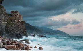 Picture sea, rock, stones, coast, tower, Italy, Italy, Monterosso al Mare, Monterosso al Mare, Cinque Terre, …
