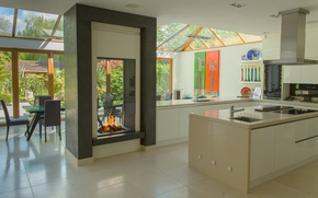 Picture design, style, interior, kitchen, fireplace, dining room