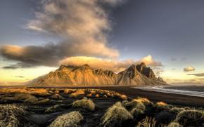 Wallpaper Iceland, Vesturhorn, Morning, Last Clouds