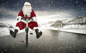 Picture winter, road, snow, snowflakes, bike, holiday, hat, the situation, boots, glasses, Christmas, New year, gloves, …
