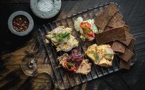 Picture bread, sandwich, vegetables, spices, pate