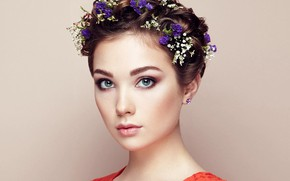 Picture eyes, look, girl, flowers, Sasha, Oleg Gekman