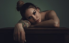 Picture look, model, portrait, makeup, tattoo, hairstyle, brown hair, beautiful, sitting, bokeh, lay down, at the …
