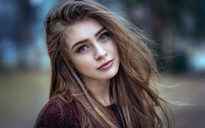 Picture girl, Anna, long hair, photo, blue eyes, model, beauty, bokeh, lips, face, brunette, portrait, mouth, …