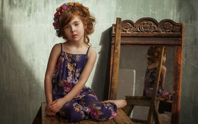 Picture flowers, mirror, girl, brown hair, wreath, child, curls, sundress, stool