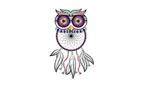 Picture owl, bird, minimalism, feathers, light background, owl, Dreamcatcher, dreamcatcher, dream catcher