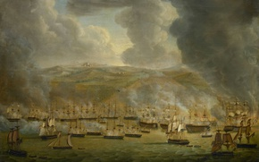 Picture ship, oil, picture, the battle, canvas, Gerard Laurentis Cultic, Attack by a Single Squadron in …