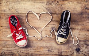 Picture love, heart, sneakers, love, heart, laces, romantic, baby, shoes
