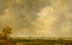 Picture landscape, oil, picture, Jan van Goyen, The view of the Floodplain of the River