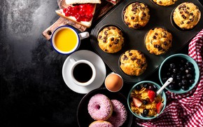 Picture egg, coffee, Breakfast, sweets, donuts, cakes, cereal, cupcakes, sandwiches
