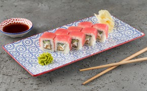 Picture fish, ginger, soy sauce, Rolls, wasabi
