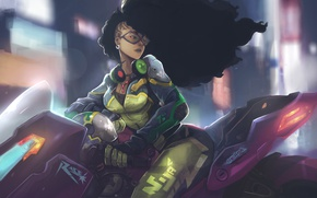 Wallpaper girl, night, hair, art, the city, motorcycle, the wind, bike, speed, Biker