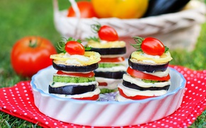 Picture eggplant, vegetables, tomato, mozzarella