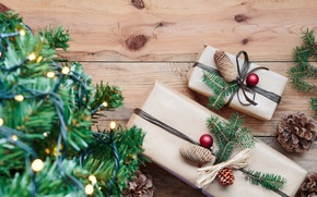 Picture decoration, branches, holiday, toys, Board, new year, Christmas, spruce, gifts, tree, light bulb, bumps, box