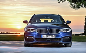 Picture the sky, clouds, sunset, lawn, BMW, Parking, front view, universal, xDrive, Touring, 530d, 5, dark …