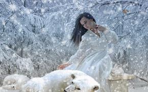 Wallpaper Fox, girl, white rabbit, trees, rabbit, winter, snow, polar Fox, polar bear, bear