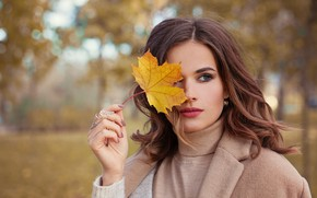Picture autumn, look, girl, Park, model, makeup, autumn mood, sheet in hand