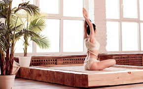 Wallpaper pose, yoga, asana, Leila Mirzoyeva, photographer Valeria Malinowska