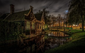 Picture Netherlands, channel, night, the bridge, The Zaanse Schans, home