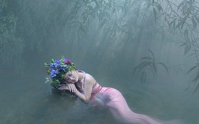 Picture forest, water, girl, pose, mood, stay, the situation, bamboo, dress, Asian, wreath