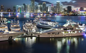 Wallpaper the city, night, yachts, lights