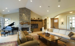 Picture interior, piano, fireplace, living room