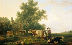Picture animals, landscape, tree, oil, cow, picture, Jacob van stry, The Time Of Milking
