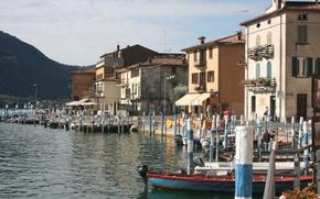 Wallpaper Home, Pier, Boats, Italy, promenade, Italy, Italia, Lombardia, Lombardy, Lombardy, Brescia, Lake Iseo, Lago d'iseo, ...