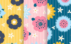 Picture yellow, background, pink, blue, texture, flowers