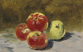 Wallpaper picture, still life, fruit, Eduard Manet, Edouard Manet, Four Apples
