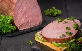 Picture meat, sandwich, ham