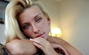 Picture girl, Model, blue eyes, photos, lips, face, blond, portrait, mouth, freckles, sensual gaze
