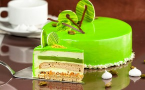 Picture cake, layers, piece, decor, glaze, mousse