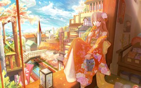 Picture bridge, river, tower, plants, spring, flashlight, girl, kimono, flowering, the view from the window, blue …