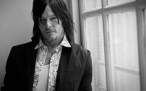 Wallpaper photo, portrait, window, actor, black and white, shirt, jacket, Vogue, Norman Reedus, Norman Reedus, 2015, ...