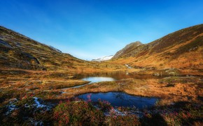 Picture autumn, the sky, grass, snow, mountains, lake, Norway, Sunny, Sulitjelma
